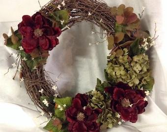 Burgundy & Green Grapevine Wreath
