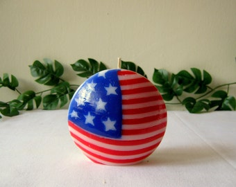 patriotic candle, USA, July 4th, hand-decorated