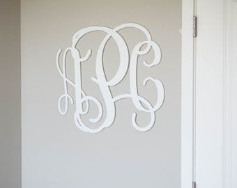 Painted Wooden Monogram, Wood Initials, Vine Script, Initials, Room, Wall, Nursery and Wedding, Door Hanger, Wall Hanging #2304