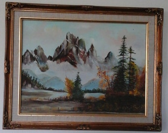 Signed B Morris original oil painting mountains