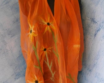 Scarf silk Nunofelt orange with flowers