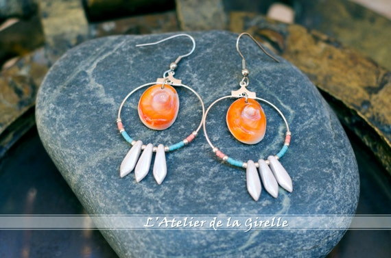 Blue, orange, pearly & seal shell Earring hoops creole - Eye of Santa Lucia