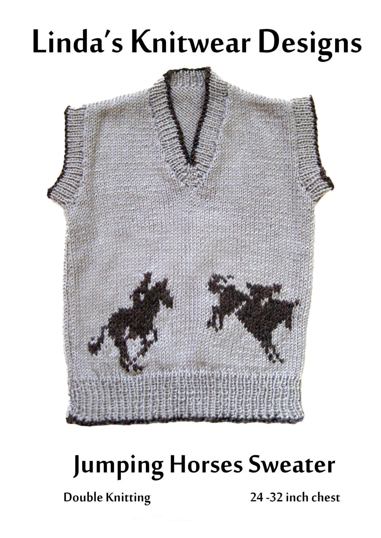 Knitting Pattern Chest Sizes : Childrens Jumping Horses motif knitting pattern sizes: