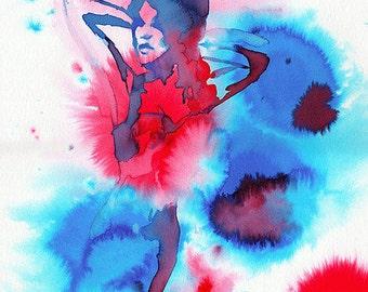 """Displays watercolor """"Super Woman"""""""