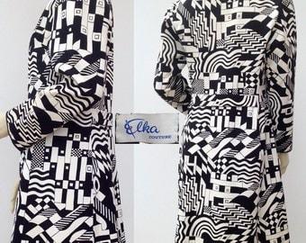 Fabulous 1960s coat Op-Art vintage Elka Couture
