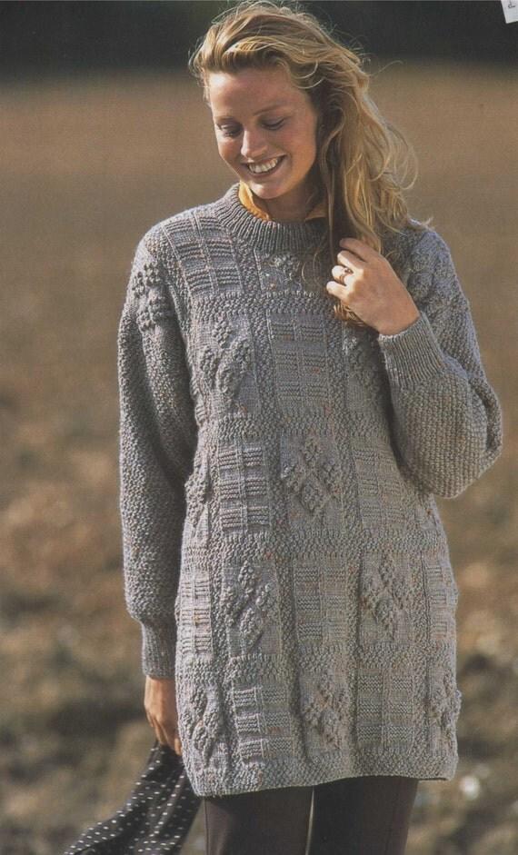 Womens Tunic Sweater Pdf Knitting Pattern Long Jumper