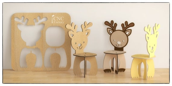 Deer chair cnc template cutting file wooden cardboard step deer chair cnc template cutting file wooden cardboard step stool aninimal deer chair laser cut cutting file cnc template plants pronofoot35fo Gallery