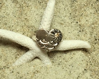 Handmade Fine Silver Heart Ring with Waves and Champagne CZ Sun size 7-7.5