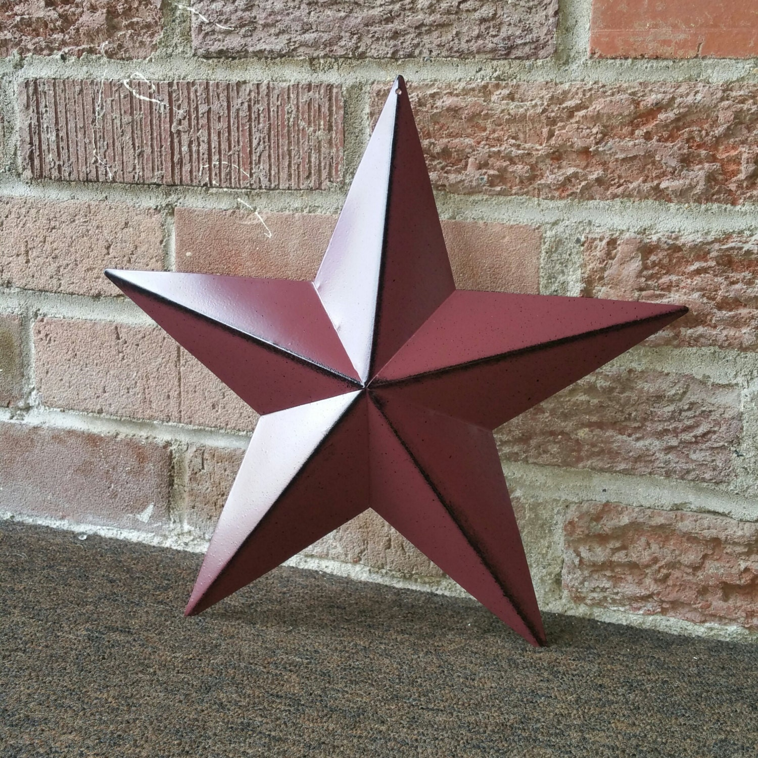 Set of 3 12 inch burgundy tin metal barn stars country for Country star decorations home