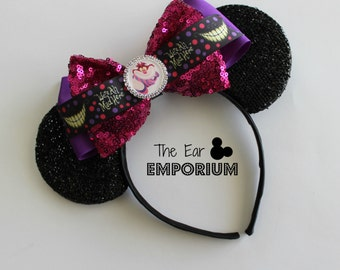 Alice in Wonderland Cheshire Cat Inspired Minnie/Mickey Mouse Ears Headband ~ We Are All Mad Here!