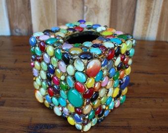 Tissue Box Cover, Multi Color, Glass Gems