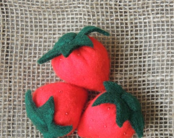 Felt Strawberries Vegetable and Fruit Pretend Play (set of 3) EFM Toys