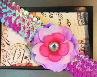 Pink Sequin Purple and Pink Flower Headband with Jewel
