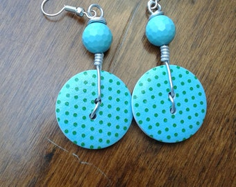 Earrings with studs and stones or beads