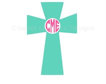 Monogram cross SVG instant download design for cricut or silhouette