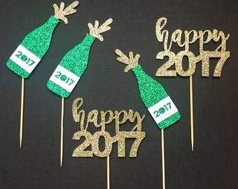 New Year Cupcake Toppers | Champagne Cupcake Toppers | 2017 Celebration Party Decoration | Holiday Decor | Glitter Party Accessories