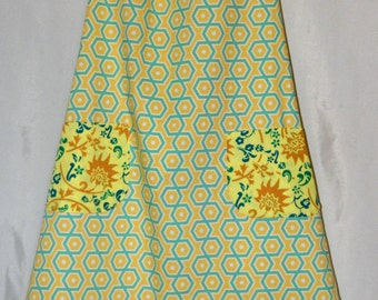 Sunshine Yellow Hexagon Print Cotton Apron, one size fits most
