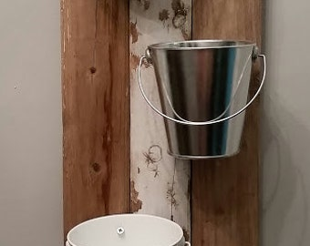 Reclaimed wood wall planter with galvanized metal buckets - CUSTOM Bucket Colors Available!