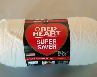 Red Heart Super Saver Yarn WHITE 7 oz Worsted Weight 4