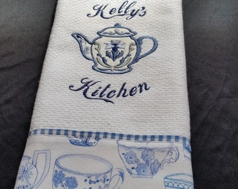 Teapot Dish Towel, Personalized Dish Towel, Waffle Woven Kitchen Towel, Tea Pot Kitchen Towel, Toile Kitchen Towel, Embroidered Dish Towel