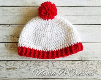 Crochet Waldo Hat, Crochet Waldo Beanie, Waldo Inspired Hat, Waldo Inspired Beanie, Waldo Hat