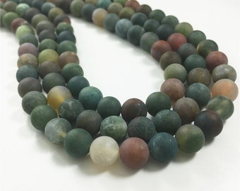 8mm Matte Indian Agate Beads, Round Gemstone Beads, Wholesale Beads