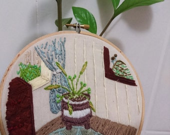 Contemporary Home Design Embroidery - Wall Art - Hand Made - Gift idea