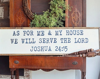 as for me and my house Joshua 24:15 - rustic wood sign