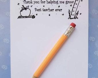 A6 notepad - Best ever teacher, teacher gift, best teacher, teacher present, teacher