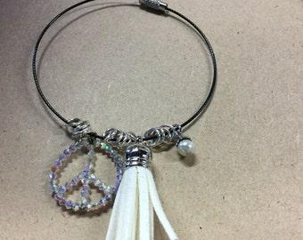 Handmade Swarvorski Crystal Peace Charm Bracelet