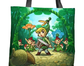 The Legend of Zelda: The Minish Cap Link and Ezlo Sublimated Tote Bag