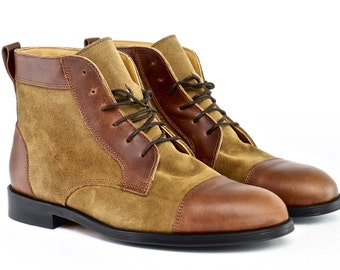Men Handmade Balmoral Ankle Boots in Brown Leather and Mustard Suede - Chocolate Brown Leather and Mustard Suede