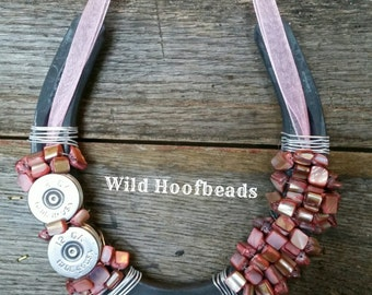 Pink 12GA beaded horseshoe