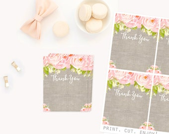 Printable Thank You Cards, Shabby Chic Burlap and Flowers, Pink Floral, Vintage linen look Thank you Cards, Baby Shower, 1st Birthday cards
