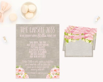 Time Capsule, 1st Birthday Time Capsule, First Birthday Time Capsule, Printable Time Capsule, Time Capsule First Birthday, Girls shabby chic