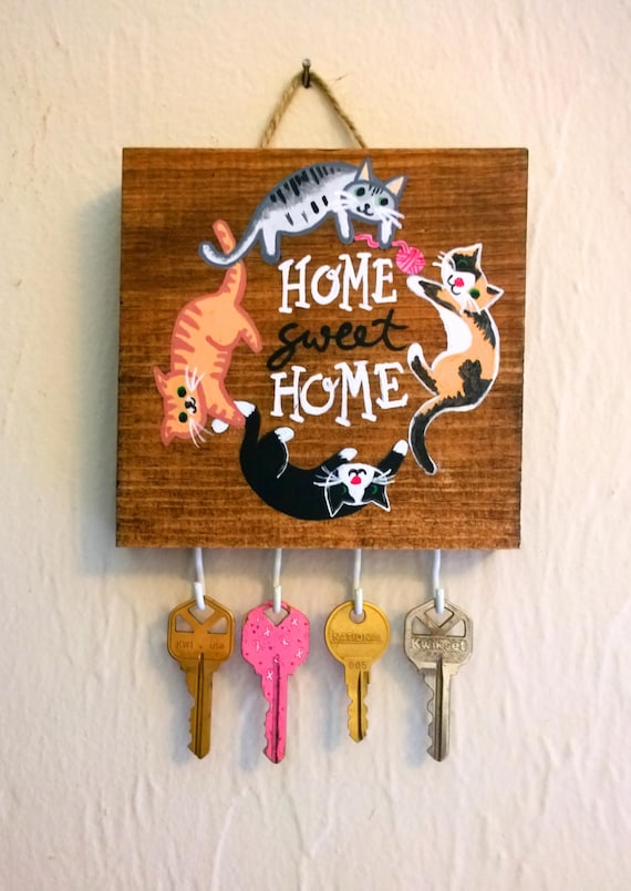 Cat Art Cat Necklace Display Home Sweet Home Cat Sign