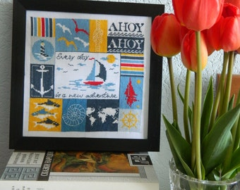 """Cross stitched picture """"Every day is a new adventure"""""""