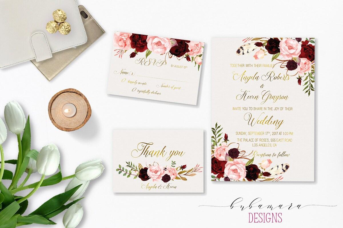 Burgundy Wedding Invitations as amazing invitation template