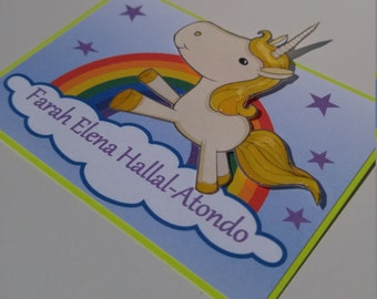 Rainbow Unicorn. 3D and Glossy