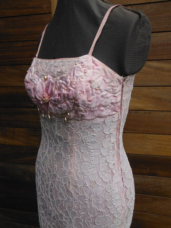 Vintage 60s Pink Lace Bead Dress - Size S 8 10 - Handmade Excellent Condition