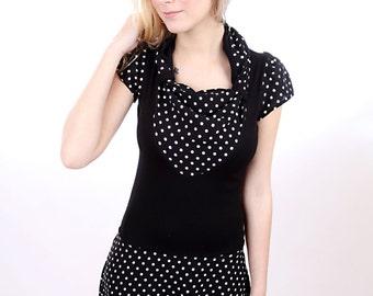 "MEKO ""Primrose"" dress ladies black white short-sleeved points"