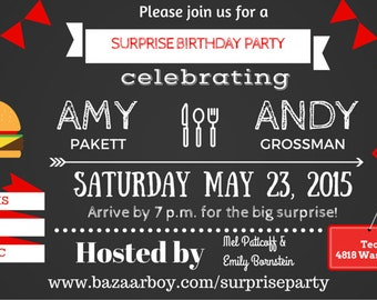 Surprise Birthday BBQ Invitation