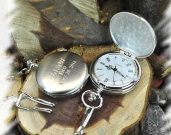 Pocket Watches (Set of 6), Groomsmens Gift, Fathers Day Gift, Wedding Gift, Personalized, Custom Enrgaved Watch, Gift for him, Mens Gift