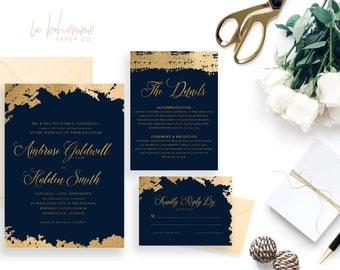 Printable Wedding Invitation Suite / Wedding Invite Set - The Ambrose Gold Suite