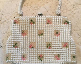 Vintage 50's Grandee Bead Purse, White Beaded Purse with Pink Floral Inlays, White Springtime Handbag, Wedding Purse