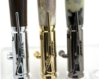 30 Caliber Bolt Action Pen in Sturdy Wood Ideal Hunter Gift, Military Veteran Gift, Husband Gift, 5th Anniversary Gift - Made To Order
