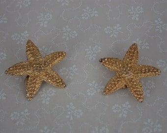 60s Starfish Earrings - Vintage Clip On Earrings - Gold Tone 60s Earrings - Starfish Clip On Earrings