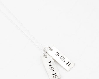 Gift for Wife for Christmas, Personalized Gift for Wife, Double Bar Necklace, Vertical Bar Necklace, Sterling Silver or Gold Filled