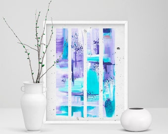 Abstract Print, Blue and Purple, Acrylic Painting, Home Decor, Abstract Wall Art, Large Print, 20x30, Abstract Poster, Contemporary Art