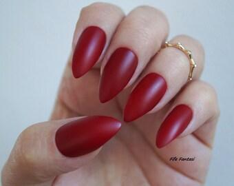 Burgundy Nails, Matte Stiletto Nails, Fake nail, Stiletto nails, Kylie jenner, Red nails, Press on nails, Acrylic nails, False nails, nails